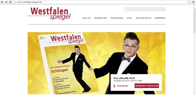 Screenshot der neuen Homepage des Westfalenspiegel